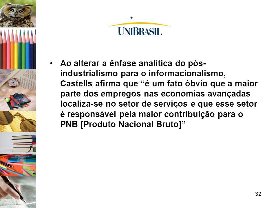 Ao alterar a ênfase analítica do pós-industrialismo para o informacionalismo, Castells afirma que é um fato óbvio que a maior parte dos empregos nas economias avançadas localiza-se no setor de serviços e que esse setor é responsável pela maior contribuição para o PNB [Produto Nacional Bruto]